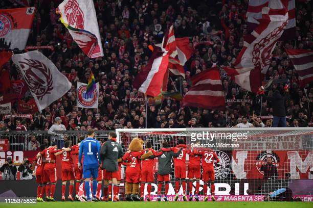 Bayern Munich players celebrate victory after the Bundesliga match between FC Bayern Muenchen and VfB Stuttgart at Allianz Arena on January 27 2019...