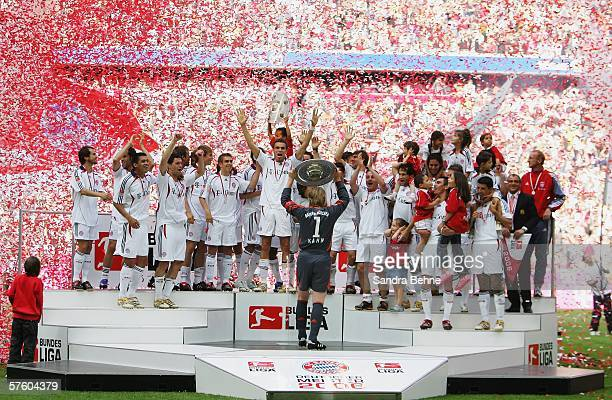 Bayern Munich players celebrate winning the Bundesliga at the Allianz Arena on May 13 2006 in Munich Germany