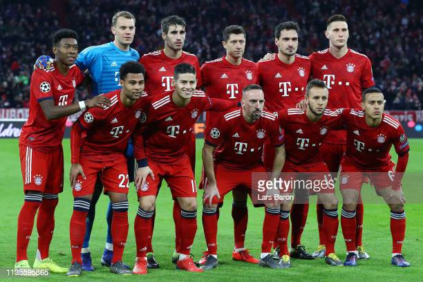 Bayern Munich players line up prior to the UEFA Champions League Round of 16 Second Leg match between FC Bayern Muenchen and Liverpool at Allianz...