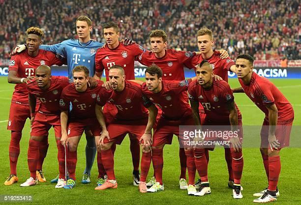 Bayern Munich players pose during the Champions League quarterfinal firstleg football match between Bayern Munich and Benfica Lisbon in Munich...