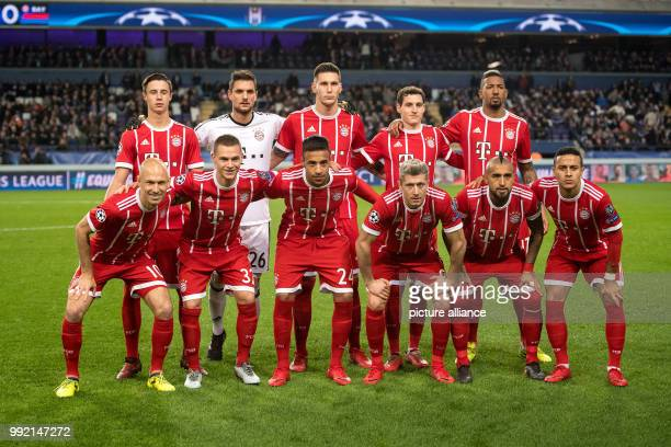 FC Bayern Munich players posing for a group photo ahead of the Champions League soccer match between RSC Anderlecht and Bayern Munich in Anderlecht...