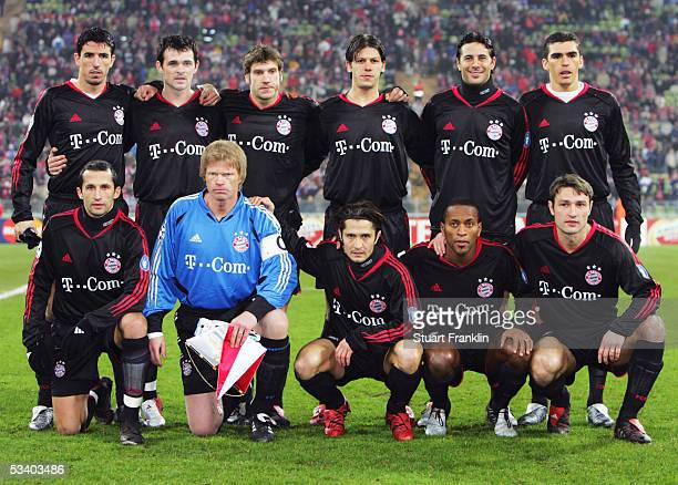 Bayern Munich pose during the Champions League last 16 Rd first leg match between Bayern Munich and Arsenal at the Olympic Stadium on February 22...