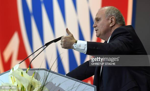 Bayern Munich president Uli Hoeness addresses the annual general meeting of the German first division Bundesliga football club FC Bayern Munich in...