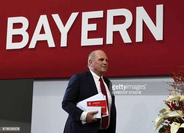 Bayern Munich president Uli Hoeness arrives for the annual general meeting of the German first division Bundesliga football club FC Bayern Munich in...