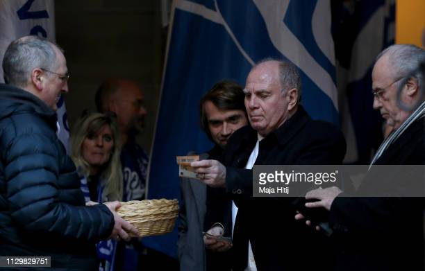 Bayern Munich president Uli Hoeness attends the funeral for the former Schalke 04 manager Rudolf Assauer on February 15 2019 in Gelsenkirchen Germany...
