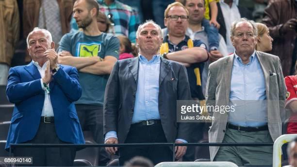 Bayern Munich President Uli Hoeness attends the U19 German Championship Final between Borussia Dortmund and FC Bayern Muenchen on May 22 2017 in...