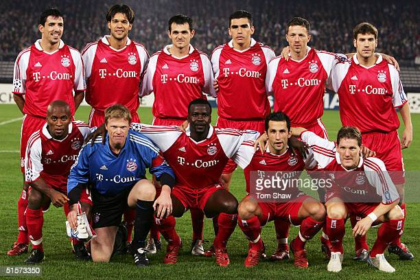 Bayern Munich team line up prior to the Champions League Group C match between Juventus and Bayern Munich in the Stadio Delle Alpi on October 19 2004...
