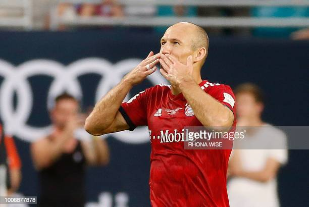 Bayern Munich's Arjen Robben celebrates his goal during the International Champions Cup friendly match between FC Bayern Munich and Manchester City...