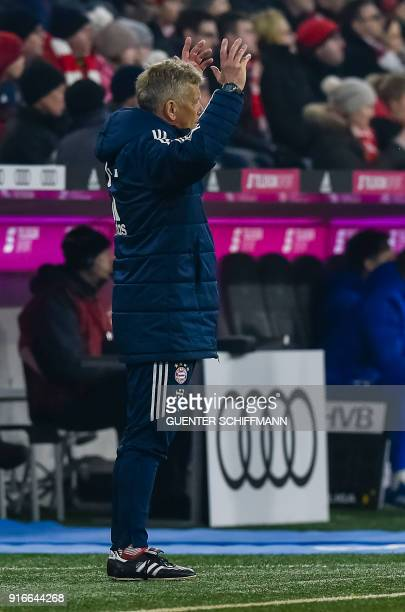 Bayern Munich's Assistant coach Peter Hermann reacts during the German first division Bundesliga football match FC Bayern Munich vs Schalke 04 in...