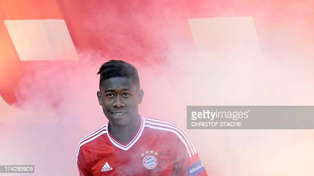 Bayern Munich's Austrian defender David Alaba arrives for the team presentation of German football club Bayern Munich in the arena in Munich southern...