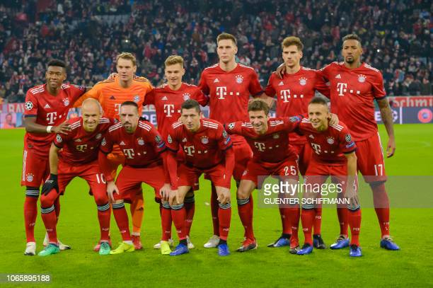 Bayern Munich's Austrian defender David Alaba German goalkeeper Manuel Neuer German midfielder Joshua Kimmich German defender Niklas Suele German...