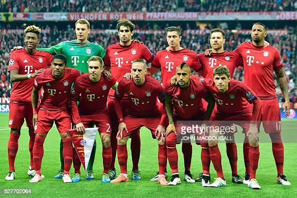Bayern Munich's Austrian midfielder David Alaba Bayern Munich's goalkeeper Manuel Neuer Bayern Munich's Spanish midfielder Javier Martinez Bayern...