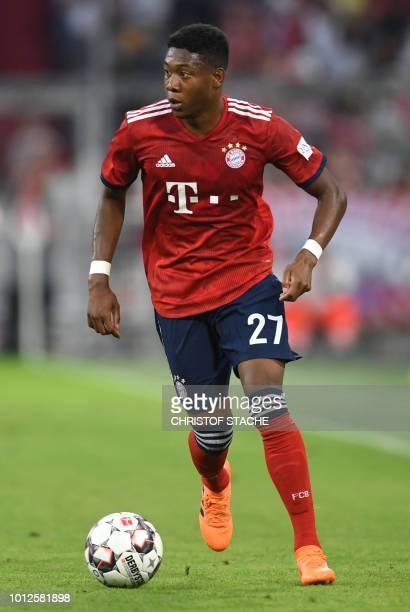 Bayern Munich's Austrian midfielder David Alaba plays the ball during the preseason friendly football match between FC Bayern Munich and Manchester...