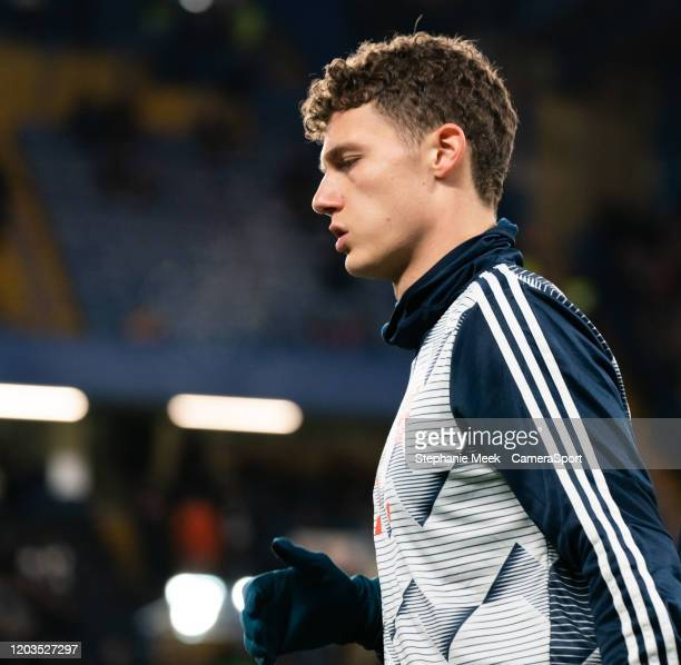 Bayern Munich's Benjamin Pavard during the pre-match warm-up during the UEFA Champions League round of 16 first leg match between Chelsea FC and FC...