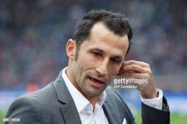 Bayern Munich's Bosnian sporting director Hasan Salihamidzic prepares to give an interview prior to the German first division Bundesliga football...