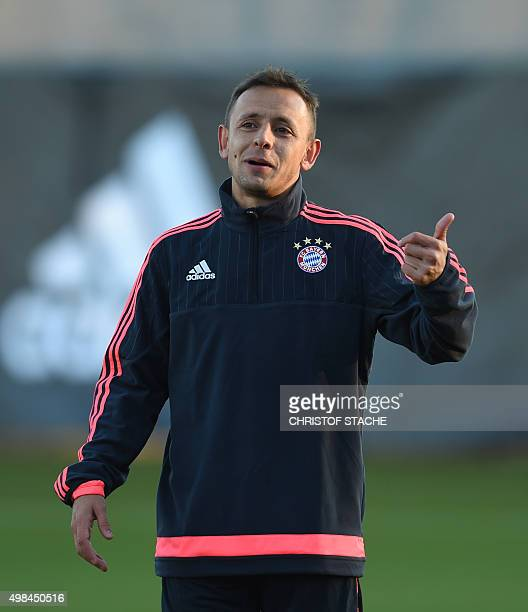 Bayern Munich's Brazilian defender Rafinha gestures during the training session on the eve of the UEFA Champions League Group F football match...