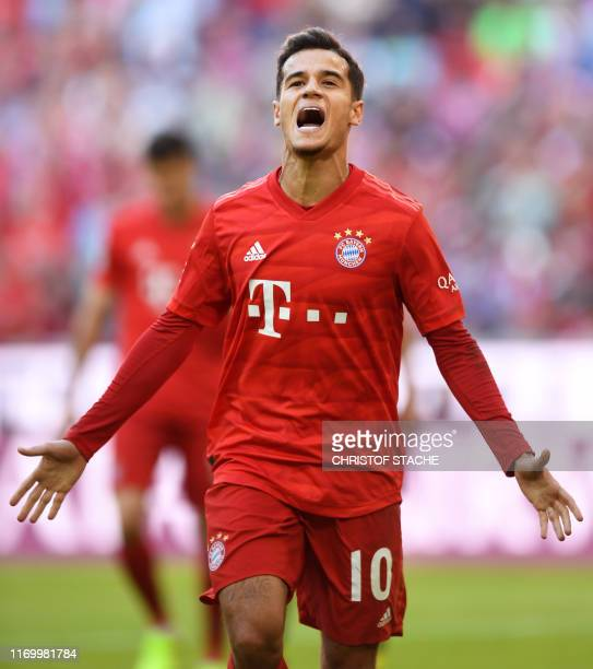 Bayern Munich's Brazilian midfielder Philippe Coutinho reacts after a penalty during the German First division Bundesliga football match between FC...