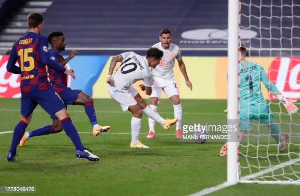 Bayern Munich's Brazilian midfielder Philippe Coutinho scores his team's eighth goal during the UEFA Champions League quarterfinal football match...