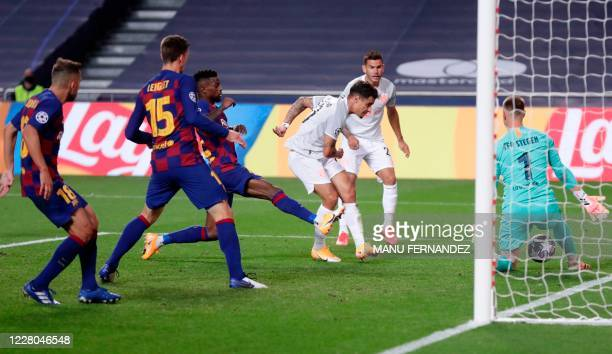 Bayern Munich's Brazilian midfielder Philippe Coutinho scores his team's eighth goal during the UEFA Champions League quarter-final football match...