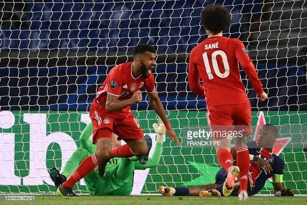 Bayern Munich's Cameroonian forward Eric Maxim Choupo-Moting celebrates after scoring a goal during the UEFA Champions League quarter-final second...