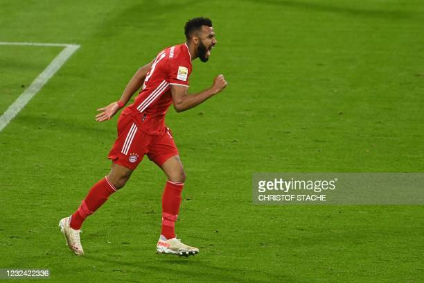 Bayern Munich's Cameroonian forward Eric Maxim Choupo-Moting celebrates after scoring the opening goal during the German first division Bundesliga...