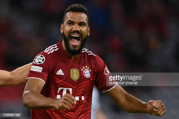 Bayern Munich's Cameroonian forward Eric Maxim Choupo-Moting celebrates scoring his team's fifth goal during the UEFA Champions League Group E...