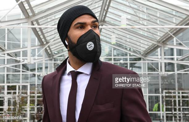 Bayern Munich's Cameroonian forward Eric Maxim Choupo-Moting leaves the airport upon arrival in Munich, southern Germany, on April 14, 2021 as the FC...