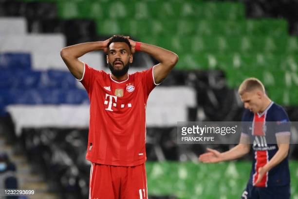 Bayern Munich's Cameroonian forward Eric Maxim Choupo-Moting reacts after missing a chance during the UEFA Champions League quarter-final second leg...