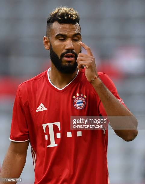 Bayern Munich's Cameroonian forward Eric Maxim ChoupoMoting reacts during the German first division Bundesliga football match between FC Bayern...