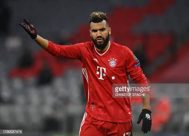 Bayern Munich's Cameroonian forward Eric Maxim Choupo-Moting reacts during the UEFA Champions League Group A football match FC Bayern Munich v...