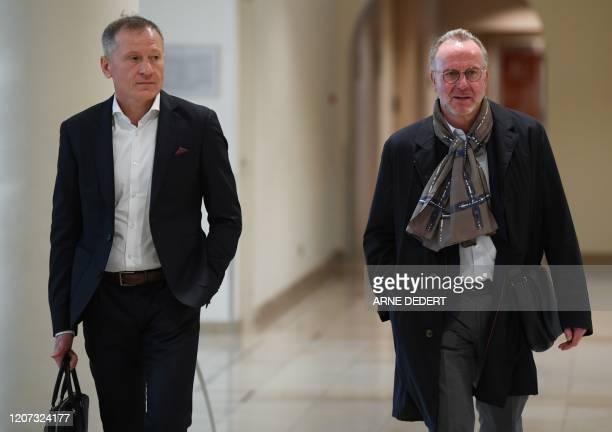 Bayern Munich's CEO Karl-Heinz Rummenigge and Managing director of TSG 1899 Hoffenheim football club, Peter Goerlich arrive for a general meeting of...