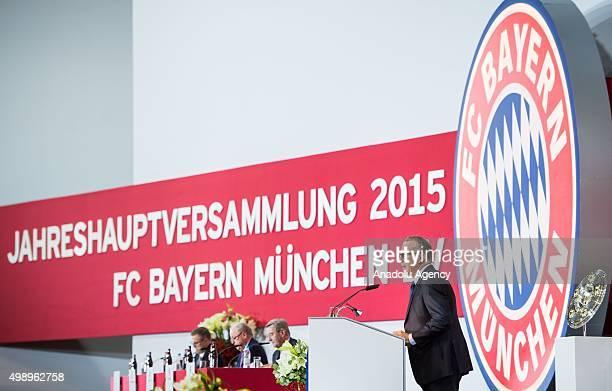 Bayern Munich's CEO KarlHeinz Rummenigge attends the FC Bayern Munich AG Annual General Meeting 2015 in Munich on November 27 2015