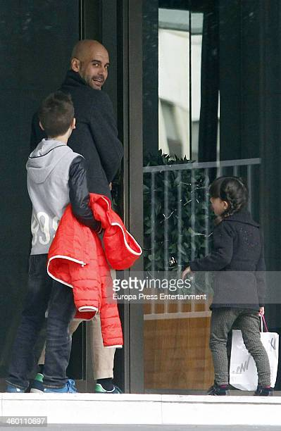 Bayern Munich's coach, Pep Guardiola and family are seen on December 23, 2013 in Barcelona, Spain.