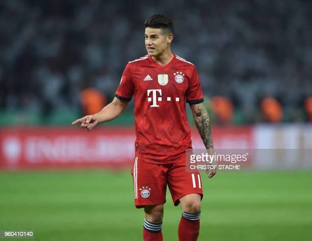 Bayern Munich's Colombian James Rodriguez gestures during the German Cup DFB Pokal final football match FC Bayern Munich vs Eintracht Frankfurt at...