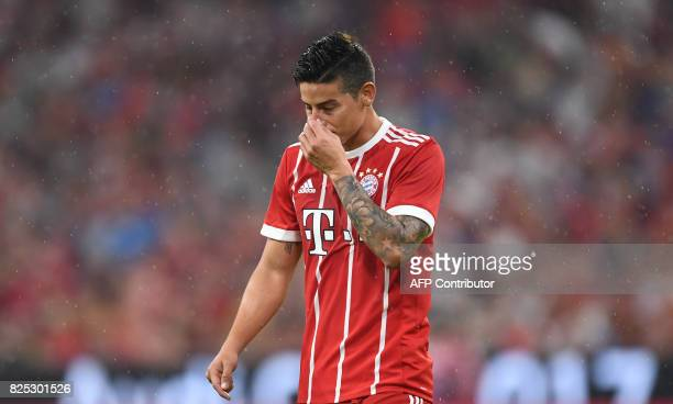 Bayern Munich's Colombian James Rodriguez reacts during the break of the second Audi Cup football match between FC Bayern Munich and FC Liverpool in...