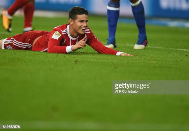 Bayern Munich's Colombian midfielder James Rodriguez during the German First division Bundesliga football match between FC Schalke 04 and FC Bayern...