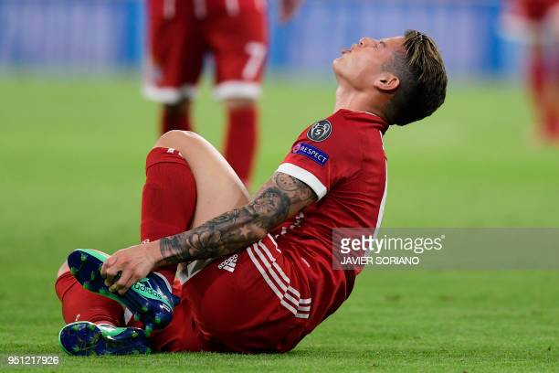 Bayern Munichs Colombian Midfielder James Rodriguez Gestures In Pain During The UEFA Champions League Semifinal Firstleg