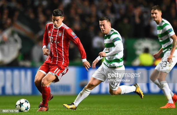 Bayern Munich's Colombian midfielder James Rodriguez is chased by Celtic's Scottish midfielder Callum McGregor during the UEFA Champions League Group...