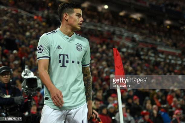 Bayern Munich's Colombian midfielder James Rodriguez looks on during the UEFA Champions League round of 16 first leg football match between Liverpool...