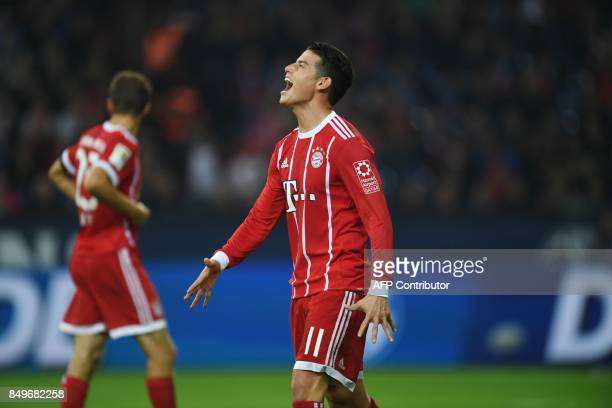 Bayern Munich's Colombian midfielder James Rodriguez reacts during the German First division Bundesliga football match between FC Schalke 04 and FC...