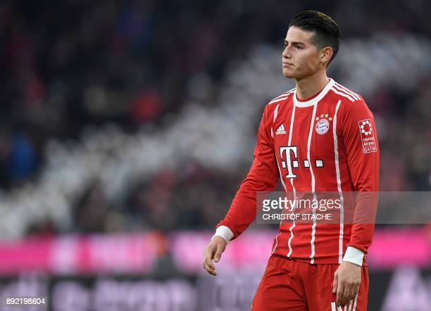 Bayern Munich's Colombian midfielder James Rodriguez reacts during the German first division Bundesliga football match between FC Bayern Munich and...