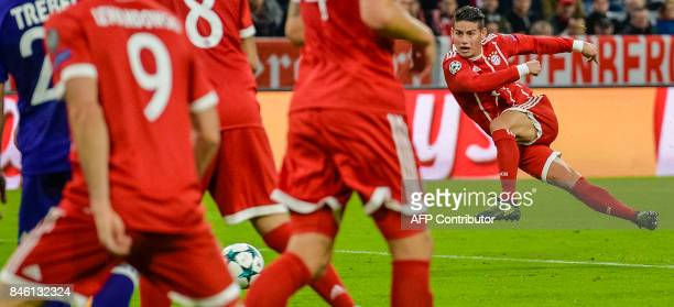 Bayern Munich's Columbian midfielder James Rodriguez plays the ball during the Champions League group B match between Bayern Munich and RSC...