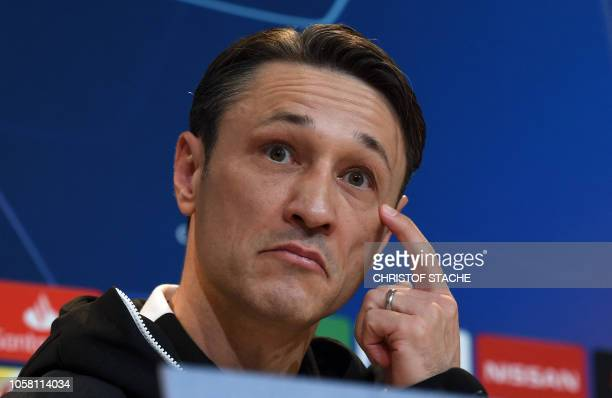 Bayern Munich's Croatian head coach Niko Kovac attends the press conference on the eve of the UEFA Champions League Group E football match Bayern...