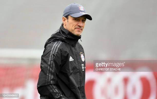 Bayern Munich's Croatian headcoach Niko Kovac arrives to attend a training session on the eve of the UEFA Champions League Group E football match...