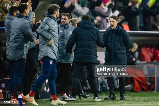 Bayern Munich's Croatian headcoach Niko Kovac reacts after the second goal during the UEFA Champions League Group E football match Bayern Munich vs...