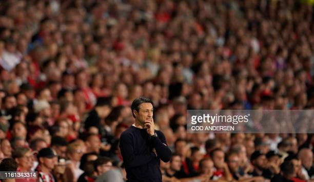 Bayern Munich's Croatian headcoach Niko Kovac reacts during the German Cup first round football match FC Energie Cottbus v FC Bayern Munich at the...