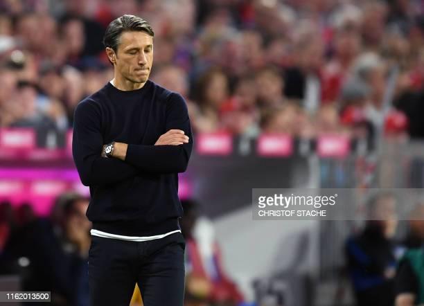 Bayern Munich's Croatian headcoach Niko Kovac reacts during the German First division Bundesliga football match FC Bayern Munich v Hertha Berlin in...