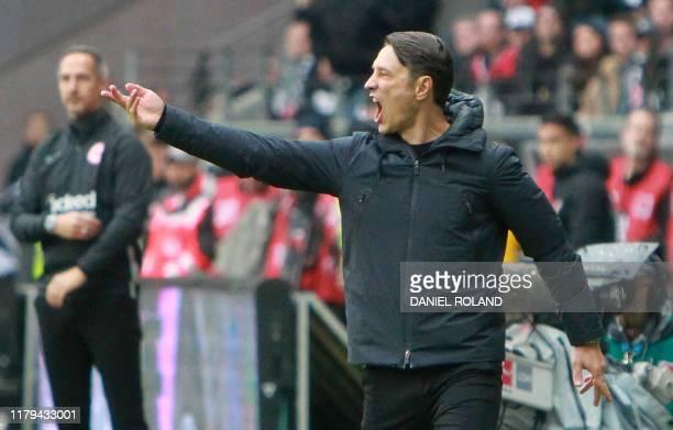 Bayern Munich's Croatian headcoach Niko Kovac reacts during the German first division Bundesliga football match between Eintracht Frankfurt and FC...