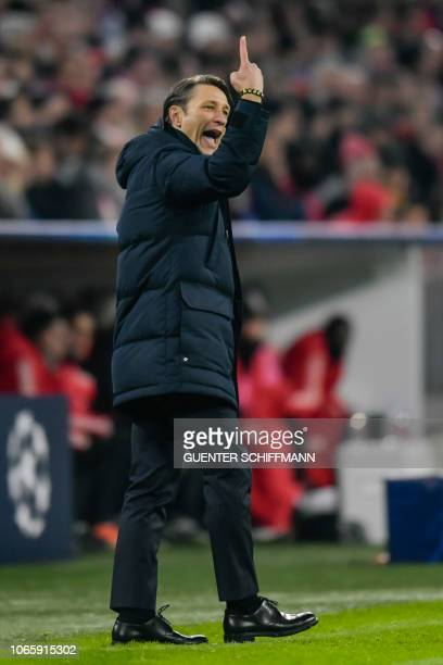 Bayern Munich's Croatian headcoach Niko Kovac reacts on the sidelines during the UEFA Champions League Group E football match Bayern Munich vs...
