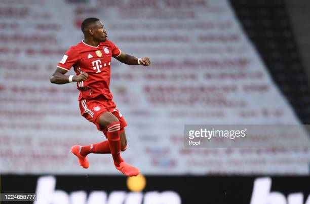 Bayern Munich's David Alaba celebrates after scoring his teams first goal during the DFB Cup final match between Bayer 04 Leverkusen and FC Bayern...
